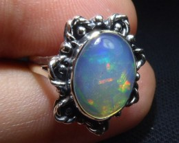 Sz 5.5 Natural Mexican Opal .925 Sterling Silver High Quality Handmade Ring