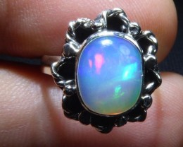 Sz 5 Natural Mexican Opal .925 Sterling Silver High Quality Handmade Ring
