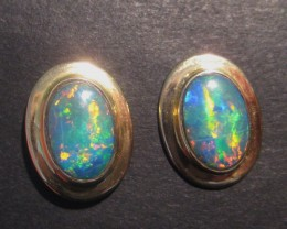 Brilliant multicolour Australian Lightning Ridge Opal and Solid Gold Earrin