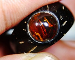 Natural Indonesian Tea Opal With Wooden Ring