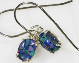 Mosaic Opal Triplet set in Silver Earrings SB 421