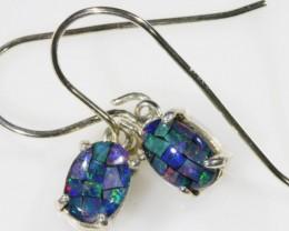 Mosaic Opal Triplet set in Silver Earrings SB 421