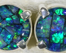 Mosaic Opal Triplet set in Silver Earrings SB 423