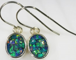 Mosaic Opal Triplet set in Silver Earrings SB 424