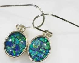 Mosaic Opal Triplet set in Silver Earrings SB 425
