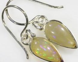 8 Cts Ethiopian Opal Set in Silver Earring SB 426