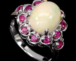 Silver Opal Ring ~ Ethiopian Opal Red Ruby Sidestone Ring Size 7