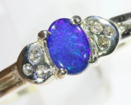 SIZE 6.5 Gem Opal Triplet Set in Silver Ring CF 774