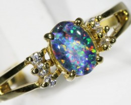 SIZE 7 Gem Opal Triplet Set in Silver Ring CF 776