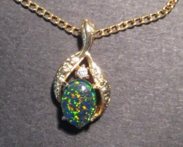 Pretty Australian Opal Triplet and Gold Tone Pendant