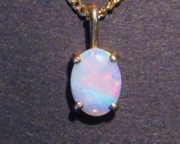 Beautiful Australian Lightning Ridge Opal and Gold Pendant