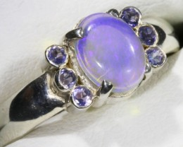 SIZE 8.5 SOLID CRYSTAL OPAL WITH TANZANITE RING  [SOJ5351]