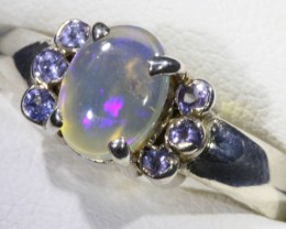 SIZE 7 SOLID CRYSTAL OPAL WITH TANZANITE RING  [SOJ5353]