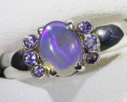 SIZE 7 SOLID CRYSTAL OPAL WITH TANZANITE RING  [SOJ5355]