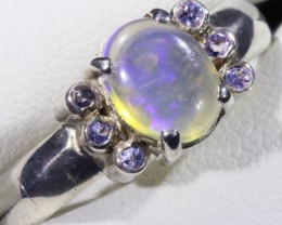 SIZE 8.5 SOLID CRYSTAL OPAL WITH TANZANITE RING  [SOJ5358]