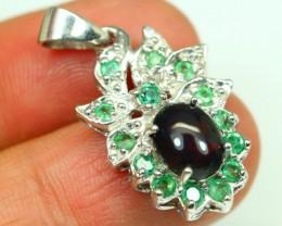 19.40Ct 925 Silver Welo Smoked Opal Green Emerald Pendant
