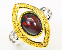 19.54Ct Two Tone 925 Silver Ring Size 8 / Welo Black Smoked Opal
