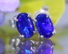 Natural solid  Black opal earrings set in silver Bu 957