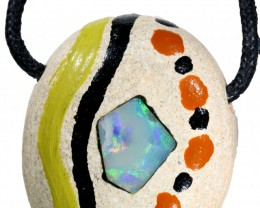 59.25 CTS UNIQUE  OPAL IN SANDSTONE PAINTED BY ABOROGINAL-[MSS 588]