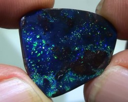 11.65 ct Solid Gem Pin Fire Pattern Blue Green Queensland Boulder Opal
