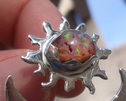 Bezel set Matrix Opal gem taxco silver ring adjustable sized 6 to 8