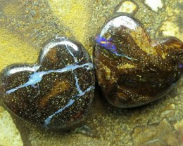 "23cts.""2 X BOULDER OPALS~HEART SHAPE DRILLED"""