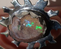 Bezel set Matrix Opal gem taxco silver ring adjustable sized 10 to 12