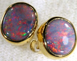 8 CTS BLACK OPAL GOLD EARRINGS OF-1783