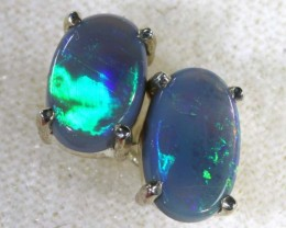 6.9 CTS BLACK OPAL SILVER EARRINGS OF-1784