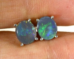 4.2 CTS BLACK OPAL SILVER EARRINGS OF-1785