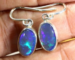 12 CTS BLACK OPAL SILVER HOOK EARRINGS OF-1786
