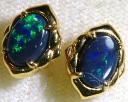 6.9 CTS BLACK OPAL GOLD EARRINGS OF-1787
