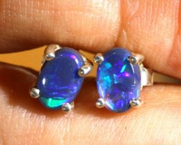 4.7 CTS BLACK OPAL SILVER EARRINGS OF-1788
