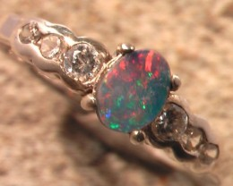 VERY PRETTY Size US 7 Australian Rainbow Opal Doublet ring