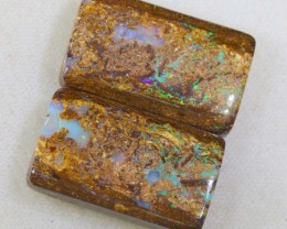 29.2 CTS BOULDER WOOD FOSSIL OPAL STONES (pair)  NC-4696