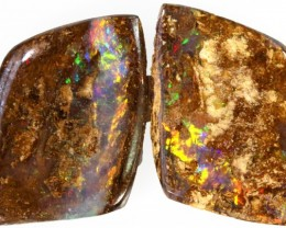 16.95 CTS PAIR BOULDER WOOD FOSSILS -TOP POLISH [BMA4316]