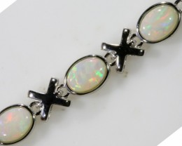 Solid Fire Opal Bracelet , top design sterling silver  SB1159