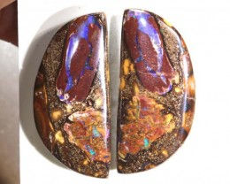 CTS BOULDER OPAL PAIRS  POLISHED CUT STONE TBO-58