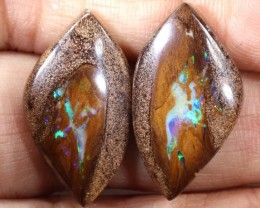 24.25CTS BOULDER OPAL PAIRS  POLISHED CUT STONE TBO-6147