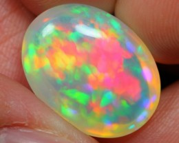 TOP 7.77Ct Bright 5/5 Rainbow CHAFF FIRE Ethiopian Welo Solid Opal