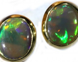 Black Opal Earrings Set in 9k Yellow Gold Earring SB520