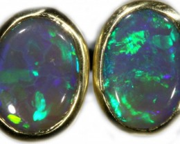 Black Opal Earrings Set in 9k Yellow Gold Earring SB523