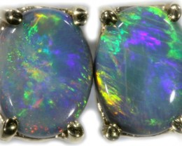 Black Opal Earrings Set in 9k Yellow Gold Earring SB525