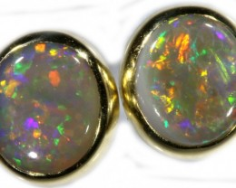 Crystal Opal Earrings Set in 9k Yellow Gold Earring SB526