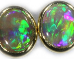 Crystal Opal Earrings Set in 9k Yellow Gold Earring SB527