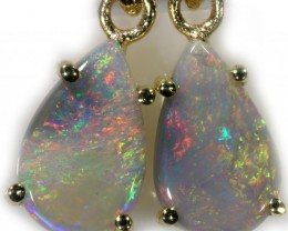 Crystal Opal Earrings Set in 9k Yellow Gold Earring SB528