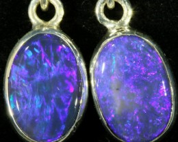 3.00 CTS Black opal earrings set in  silver  SB 534