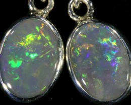 2.10 CTS Black opal earrings set in  silver  SB 535