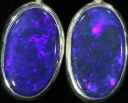 2.00CTS Black opal earrings set in  silver  SB536