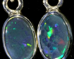 1.14 CTS Black opal earrings set in  silver  SB 537